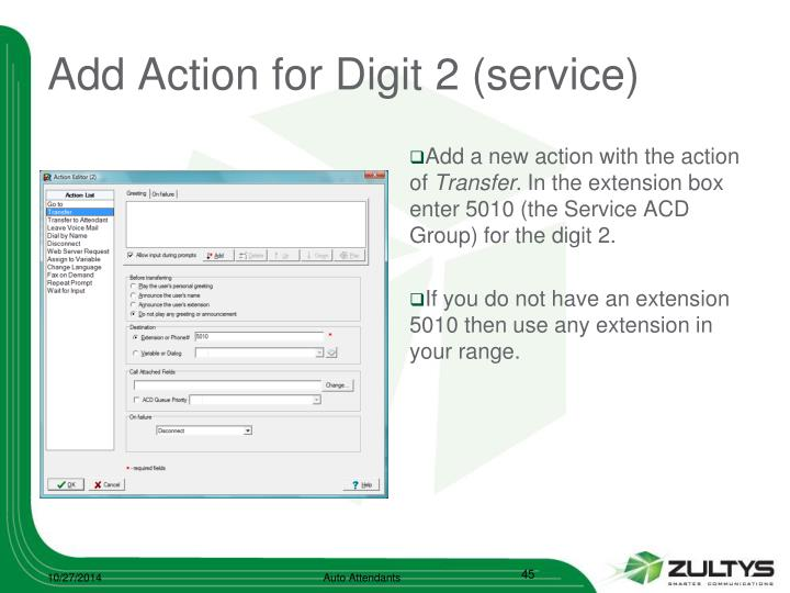 Add Action for Digit 2 (service)