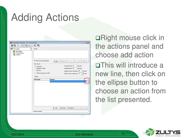 Adding Actions