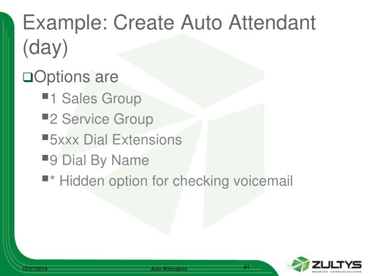 Example: Create Auto Attendant (day)