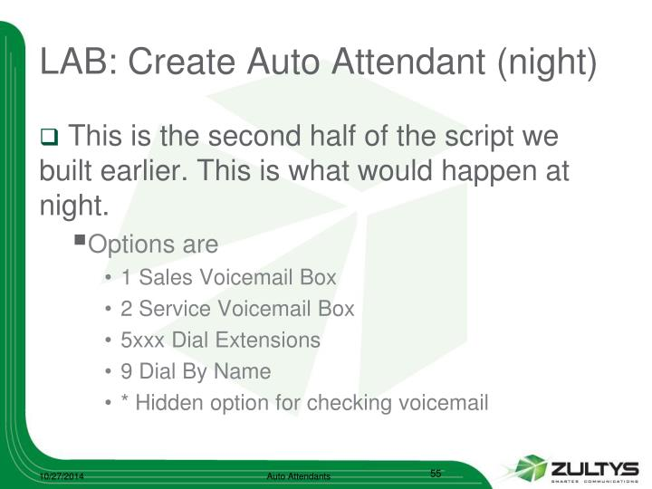 LAB: Create Auto Attendant (night)