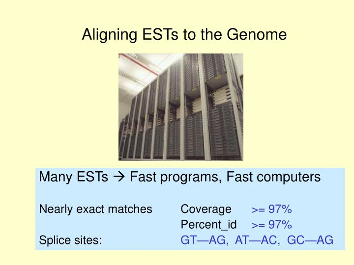 Aligning ESTs to the Genome