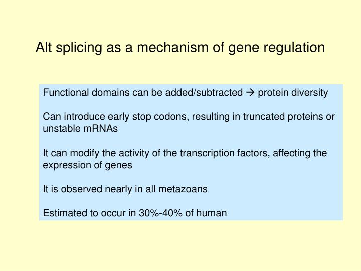 Alt splicing as a mechanism of gene regulation