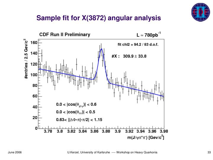 Sample fit for X(3872) angular analysis