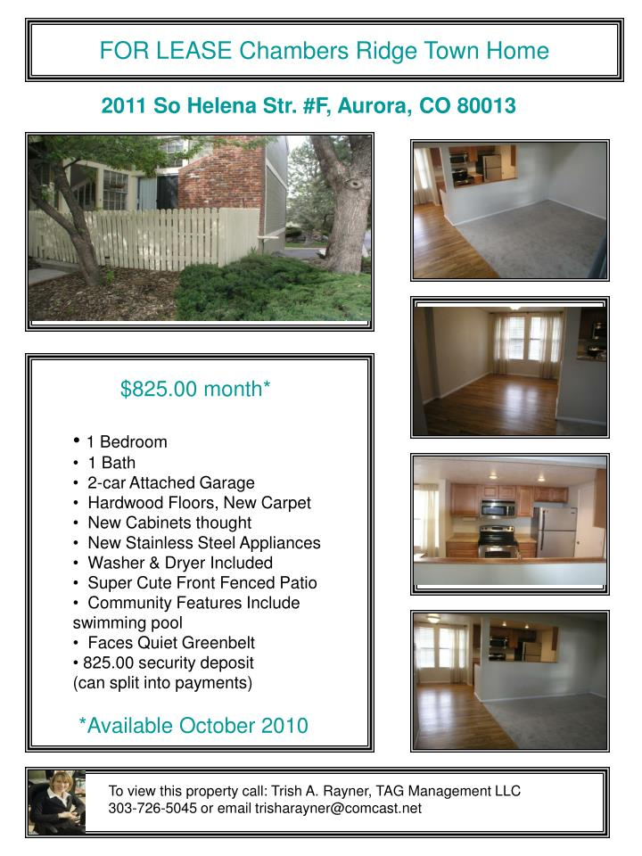 FOR LEASE Chambers Ridge Town Home
