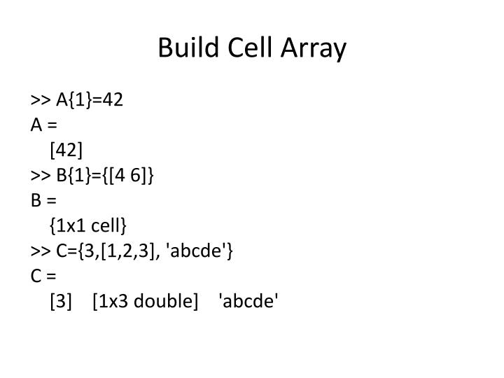 Build Cell Array