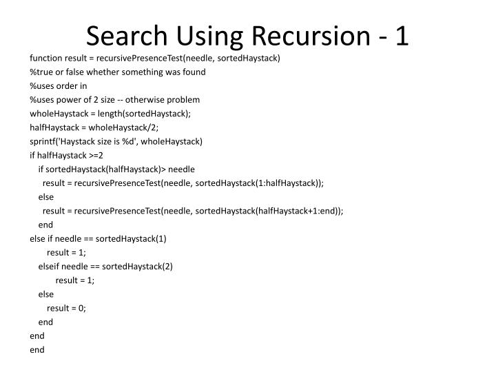 Search Using Recursion - 1