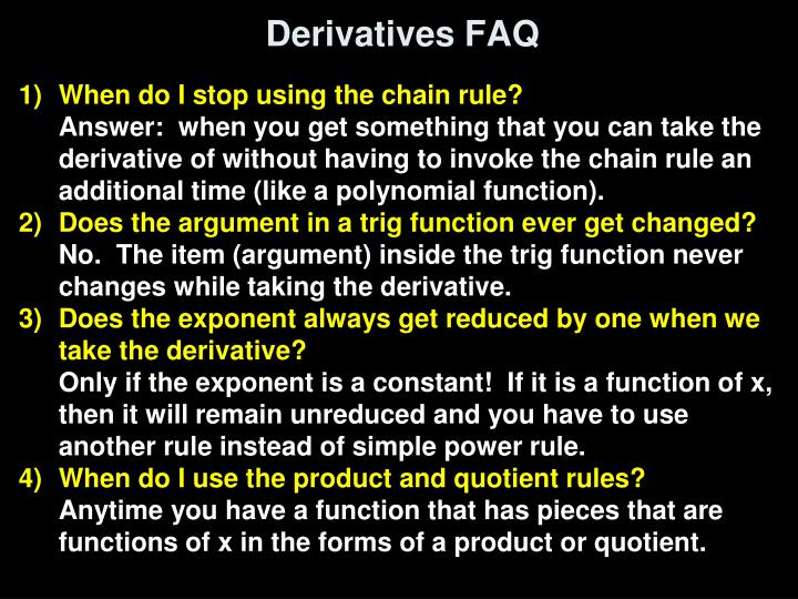 Derivatives FAQ