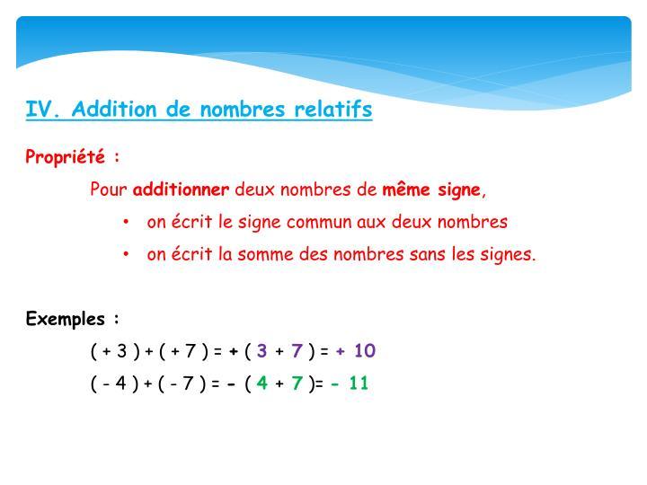 IV. Addition de nombres relatifs