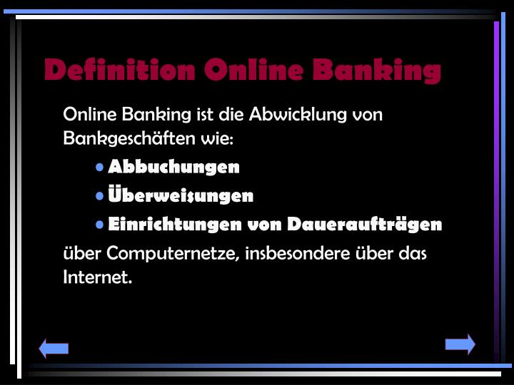 Definition online banking