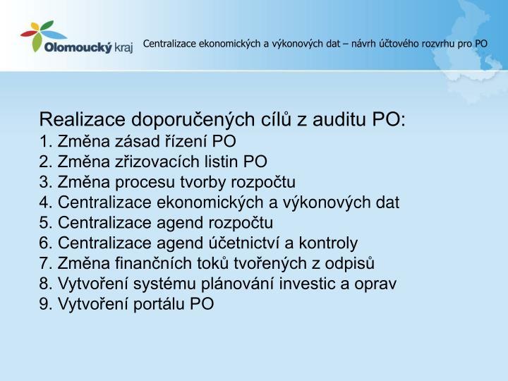 Centralizace ekonomických a výkonových dat – návrh účtového rozvrhu pro PO