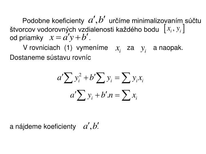Podobne koeficienty             určíme minimalizovaním súčtu štvorcov vodorovných vzdialenosti každého bodu                      od priamky                        .