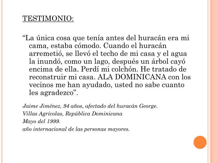 TESTIMONIO: