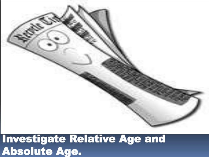 Investigate Relative Age and Absolute Age.