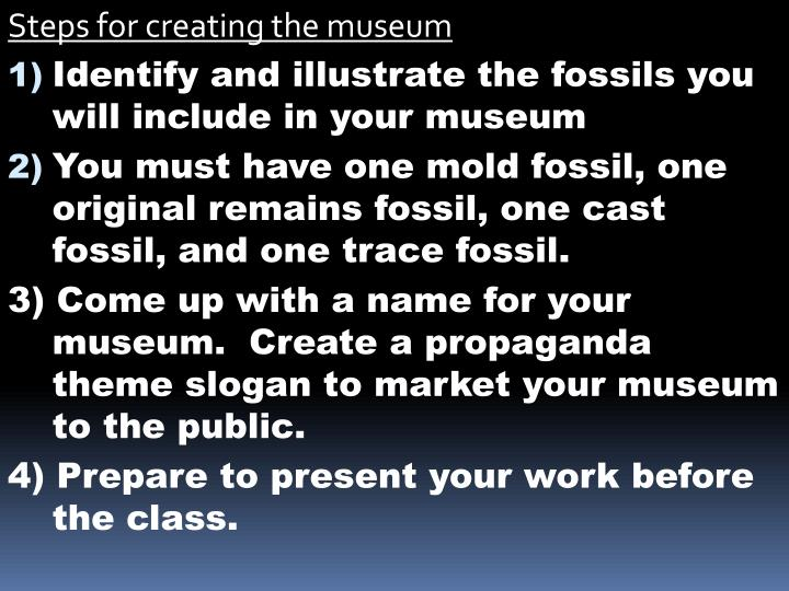 Steps for creating the museum