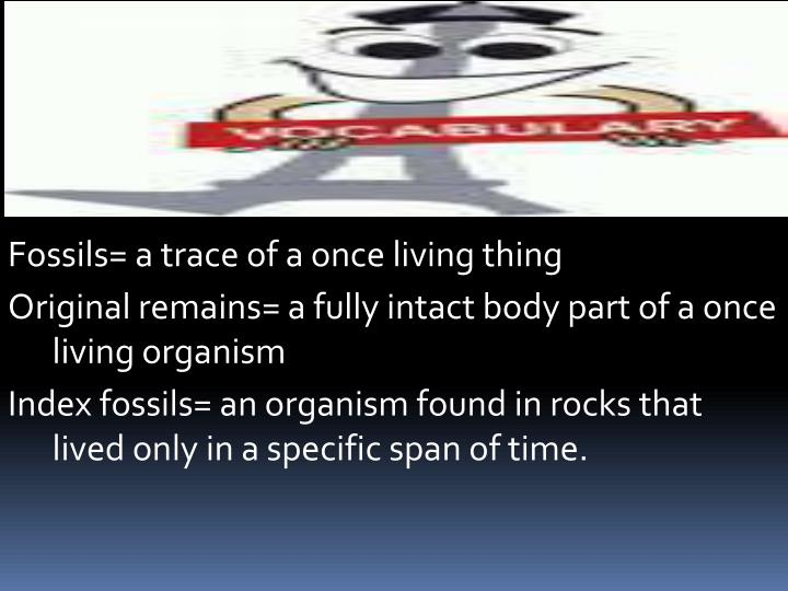 Fossils= a trace of a once living thing