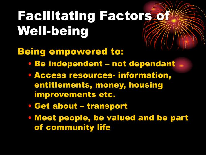 Facilitating Factors of Well-being