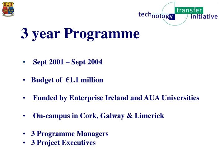 3 year Programme