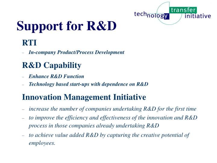 Support for R&D