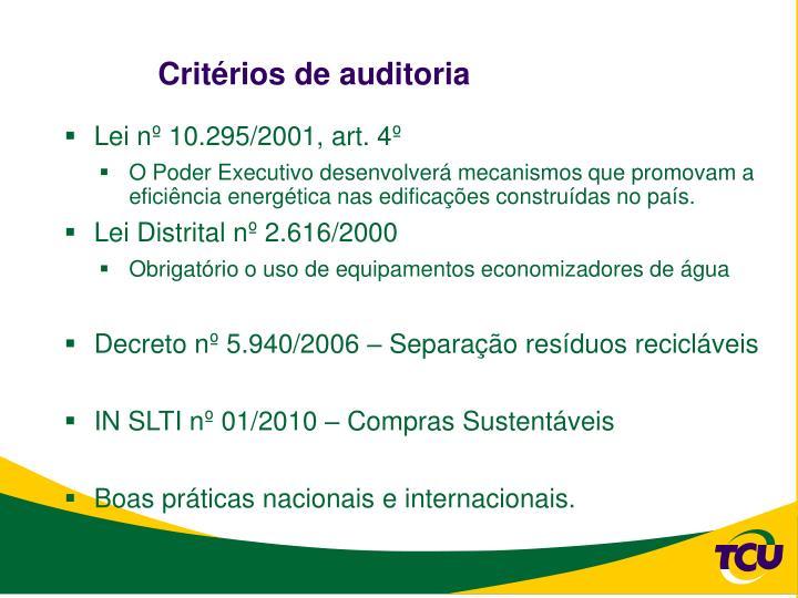 Critérios de auditoria