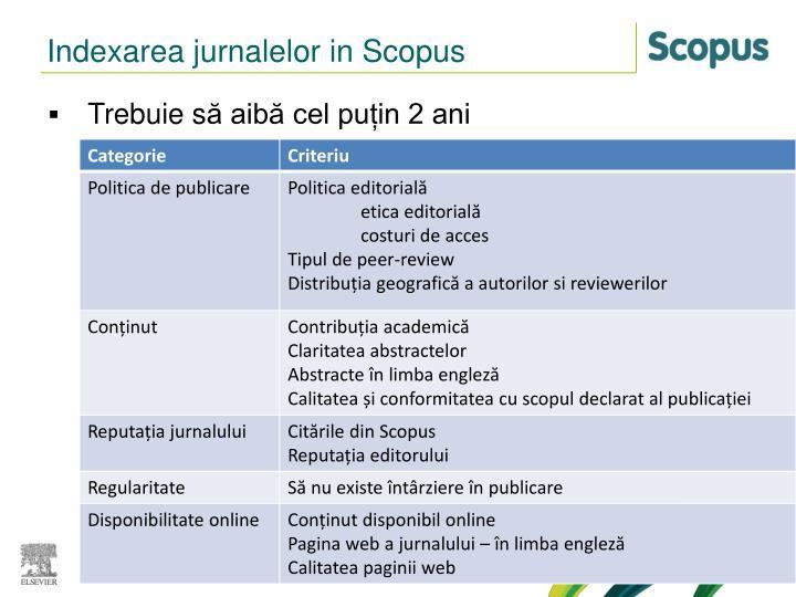 Indexarea jurnalelor in Scopus