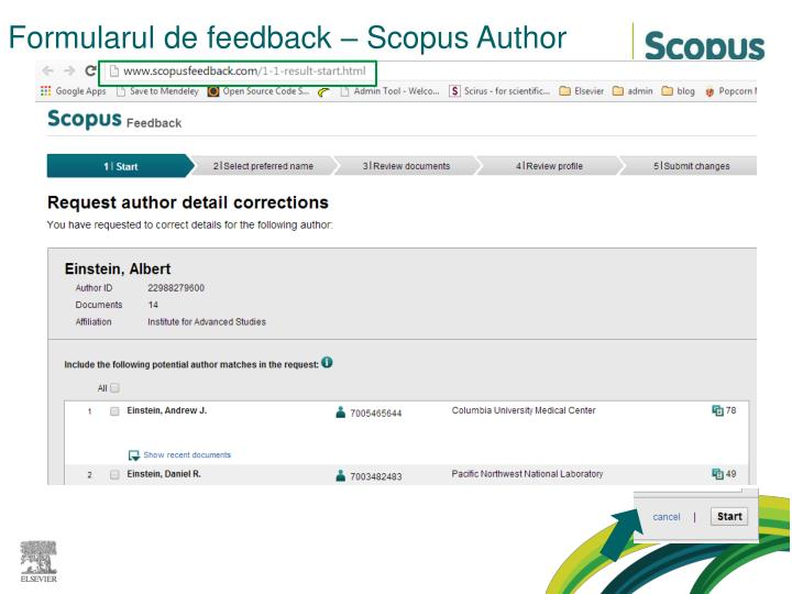 Formularul de feedback – Scopus Author