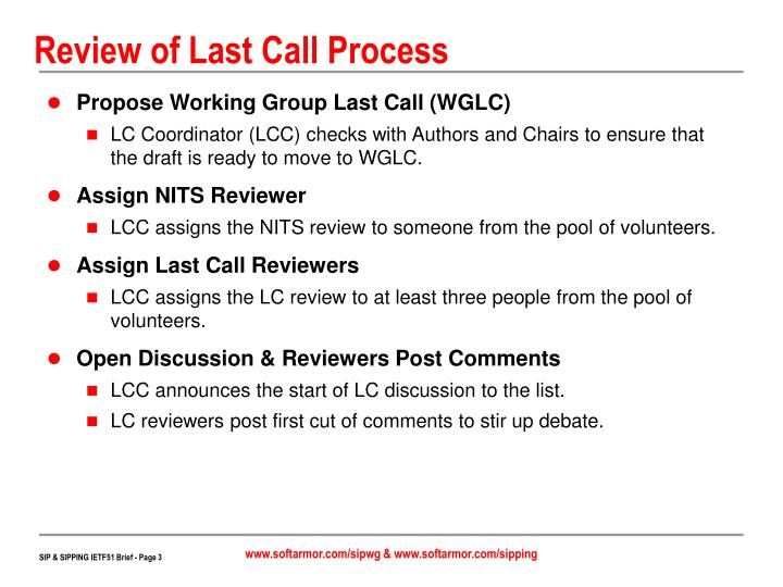Review of last call process