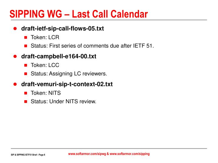 SIPPING WG – Last Call Calendar