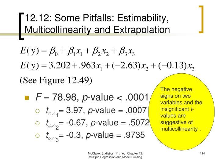 12.12: Some Pitfalls: Estimability, Multicollinearity and Extrapolation