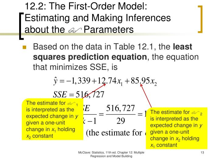 12.2: The First-Order Model: Estimating and Making Inferences about the