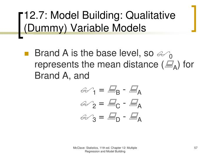 12.7: Model Building: Qualitative (Dummy) Variable Models