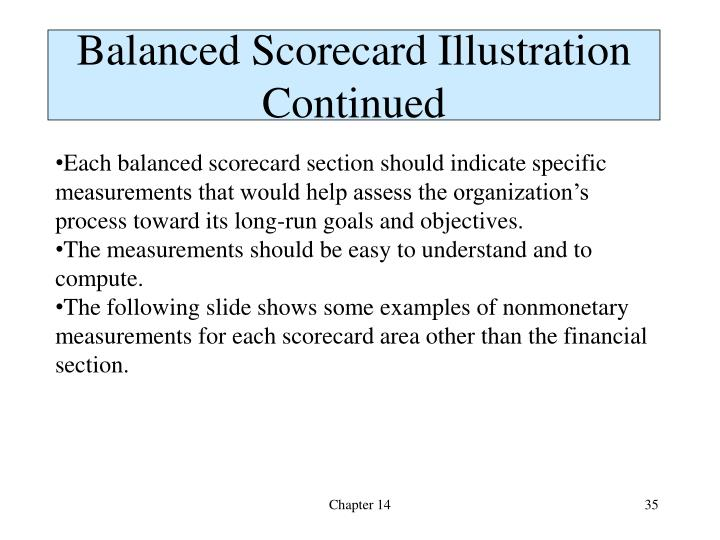 Balanced Scorecard Illustration Continued