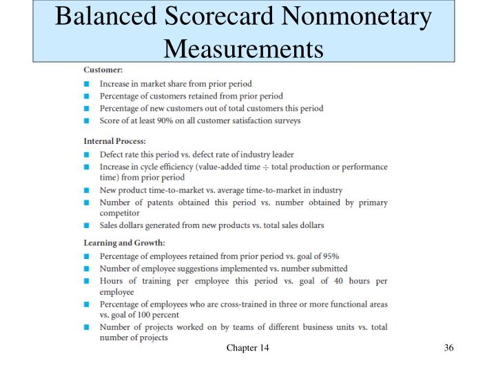 Balanced Scorecard Nonmonetary Measurements