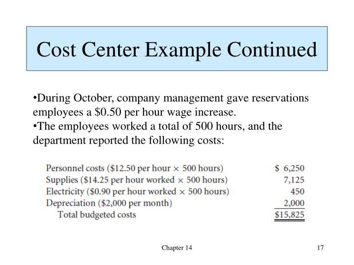 Cost Center Example Continued