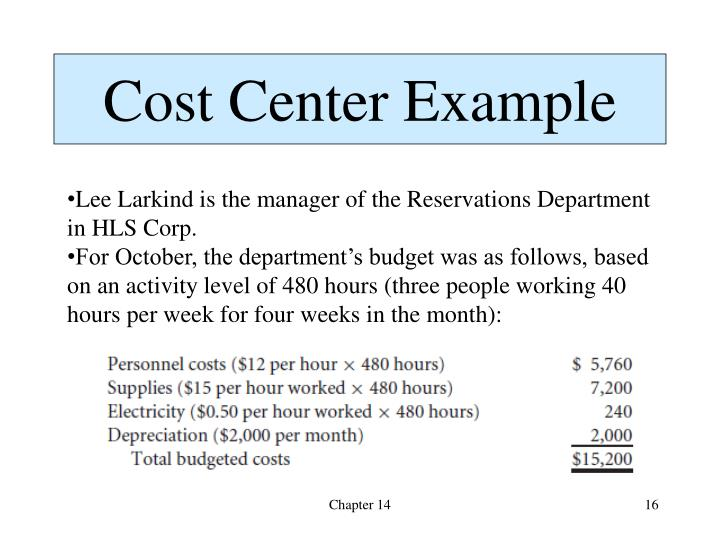 Cost Center Example