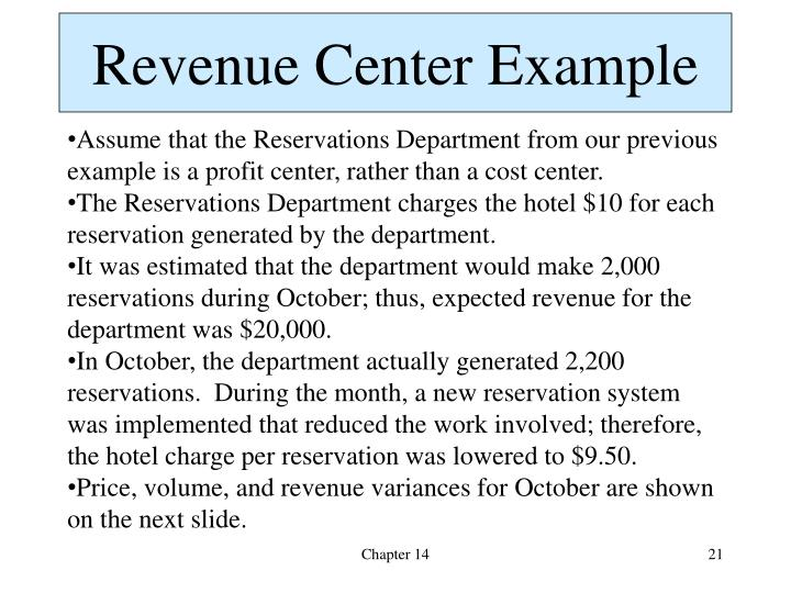Revenue Center Example