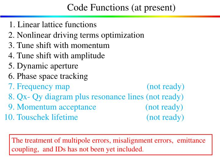 Code Functions (at present)