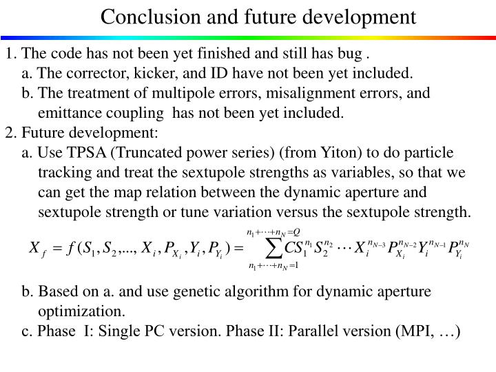 Conclusion and future development