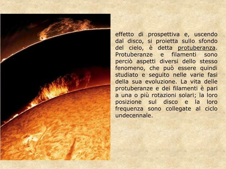 effetto di prospettiva e, uscendo dal disco, si proietta sullo sfondo del cielo, è detta