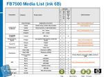 fb7500 media list ink 6b