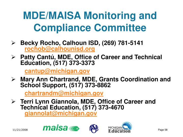 MDE/MAISA Monitoring and Compliance Committee