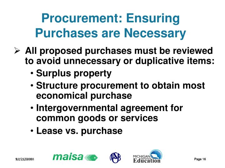 Procurement: Ensuring Purchases are Necessary