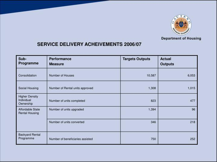 SERVICE DELIVERY ACHEIVEMENTS 2006/07