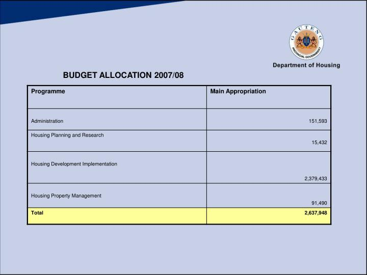 BUDGET ALLOCATION 2007/08