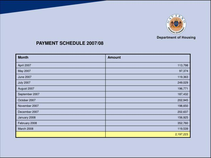 PAYMENT SCHEDULE 2007/08