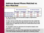 address based phone matched vs non matched