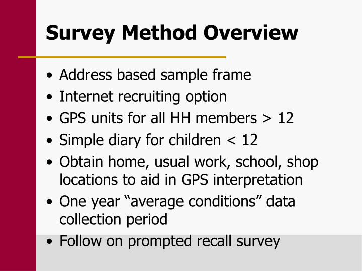 Survey Method Overview