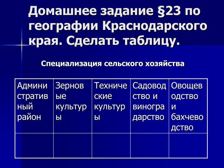 Домашнее задание §23 по географии Краснодарского края. Сделать таблицу.