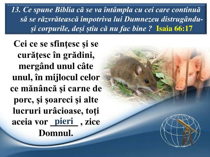 13. Ce spune Biblia c se va ntmpla cu cei care continu s se rzvrteasc mpotriva lui Dumnezeu distrugndu-i corpurile, dei tiu c nu fac bine ?