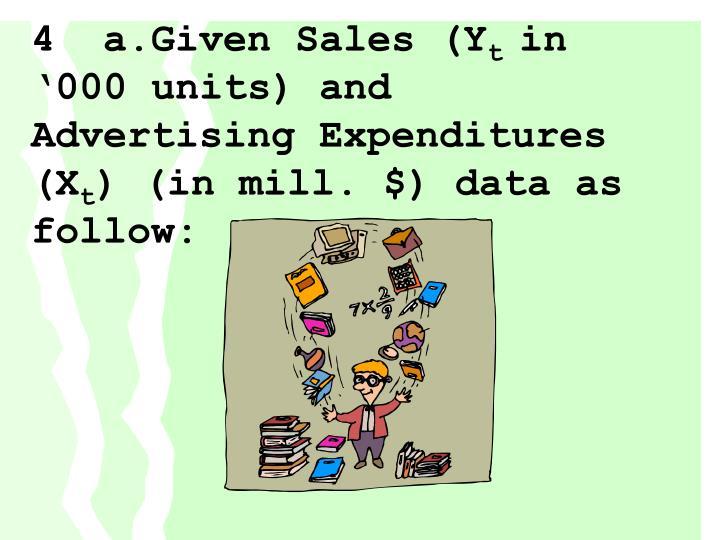 4  a.Given Sales (Y