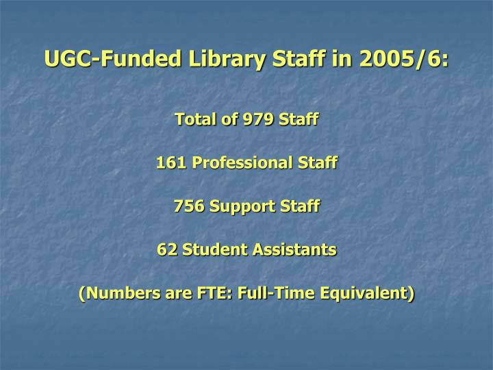 UGC-Funded Library Staff in 2005/6: